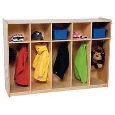 Tot 5-Section Locker Storage Unit with Storage Above and Five Double Coat Hooks in Each Section - Assembled - 54