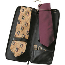 Deluxe Travel Tie Case with Cufflink Storage - Top Grain Nappa Leather - Black