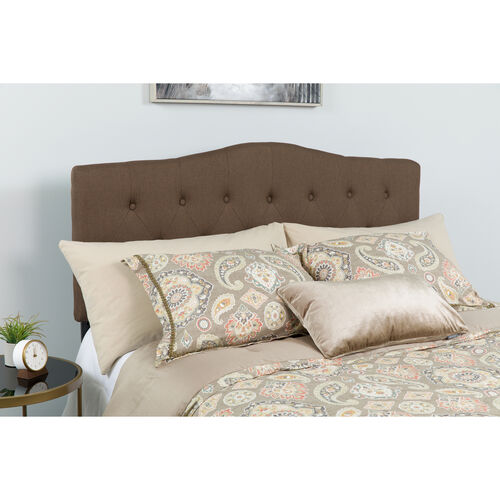 Cambridge Tufted Upholstered Twin Size Headboard in Dark Brown Fabric