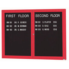 2 Door Indoor Illuminated Enclosed Directory Board with Red Anodized Aluminum Frame - 36