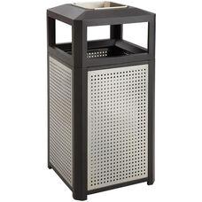 Evos™ 15 Gallon Steel Indoor or Outdoor Trash Receptacle with Ash Tray - Black