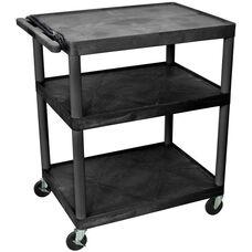 3 Large Shelf High Open Shelf Mobile A/V Utility Cart with 3 Outlet Surge - Black - 32