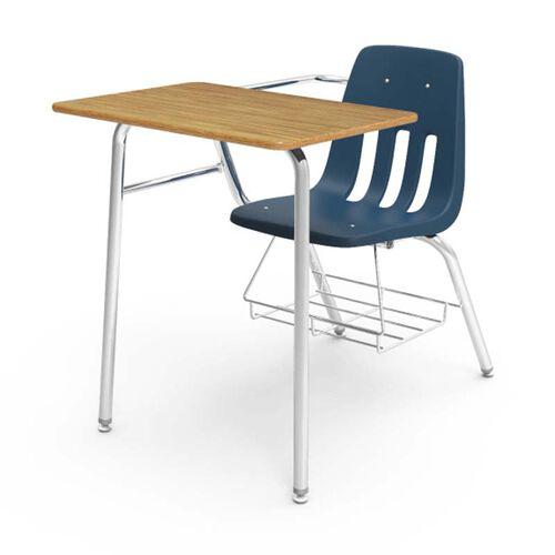 Our Quick Ship 9000 Series Classic Student Combo Desk with Medium Oak Laminate Top, Chrome Frame, and Navy Chair - 24