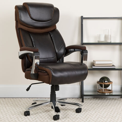 Our Big & Tall Office Chair | Brown LeatherSoft Executive Swivel Office Chair with Headrest and Wheels is on sale now.