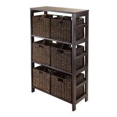Granville 7-Pc Storage Shelf in Espresso with 6 Foldable Baskets