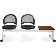 Moon 3-Beam Seating with 2 Black Vinyl Seats and 1 Table - Cherry Finish