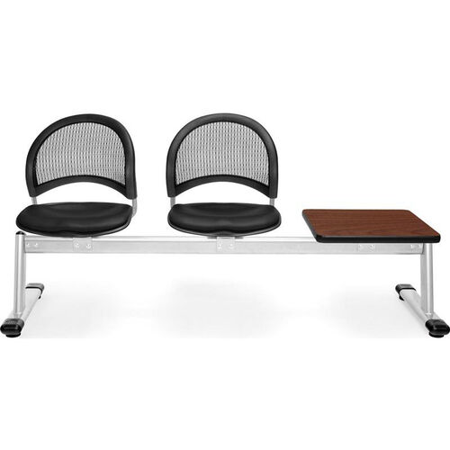 Our Moon 3-Beam Seating with 2 Black Vinyl Seats and 1 Table - Cherry Finish is on sale now.