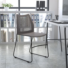 HERCULES Series 661 lb. Capacity Gray Stack Chair with Air-Vent Back and Black Powder Coated Sled Base
