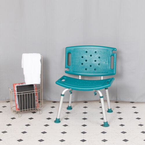 HERCULES Series Tool-Free and Quick Assembly, 300 Lb. Capacity, Adjustable Teal Bath & Shower Chair with Extra Large Back