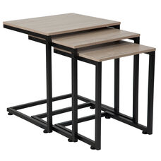 Midtown Collection Sonoma Oak Wood Grain Finish Nesting Tables with Black Metal Cantilever Base