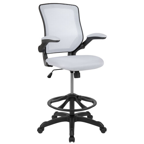 Our Mid-Back White Mesh Ergonomic Drafting Chair with Adjustable Foot Ring and Flip-Up Arms is on sale now.
