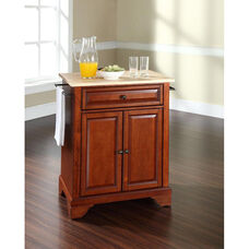 Natural Wood Top Portable Kitchen Island with Lafayette Feet - Maple and Classic Cherry Finish