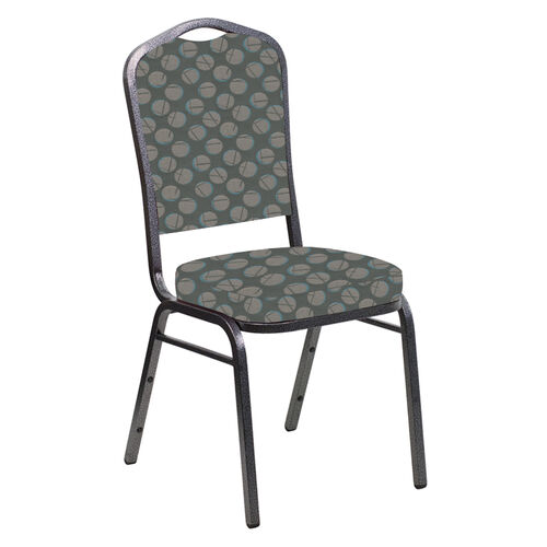 Our Crown Back Banquet Chair in Cirque Olive Fabric - Silver Vein Frame is on sale now.