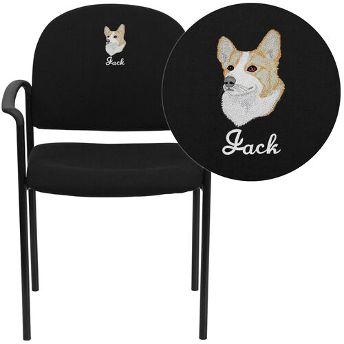 Embroidered Comfort Stackable Steel Side Reception Chair with Arms