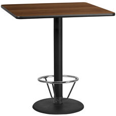 42'' Square Walnut Laminate Table Top with 24'' Round Bar Height Table Base and Foot Ring