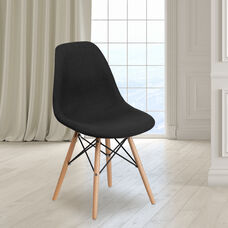 Elon Series Genoa Black Fabric Chair with Wooden Legs