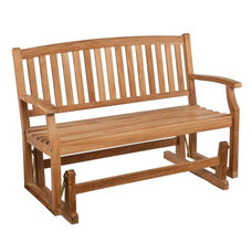 Gideon Contemporary Slatted Unstained Teak Glider Bench