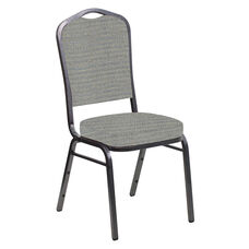 Embroidered Crown Back Banquet Chair in Highlands Slate Fabric - Silver Vein Frame