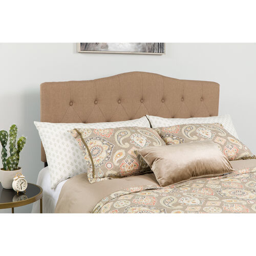 Our Cambridge Tufted Upholstered Full Size Headboard in Camel Fabric is on sale now.