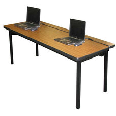 High Pressure Laminate Flip Top Computer Table with Steel Legs and Vinyl Edging - 30