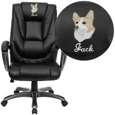 Embroidered High Back Black LeatherSoft Layered Executive Swivel Ergonomic Office Chair with Smoke Metal Base and Arms
