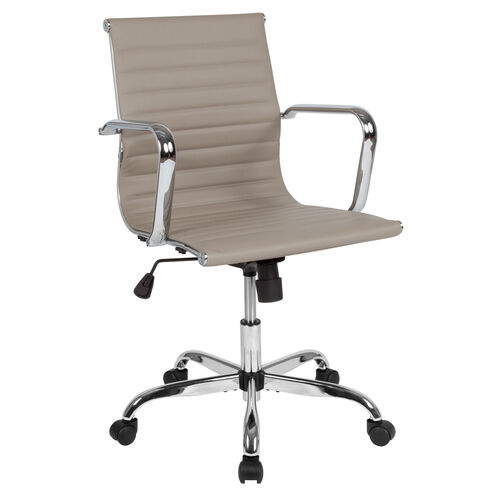 Our Mid-Back Tan LeatherSoft Mid-Century Modern Ribbed Swivel Office Chair with Spring-Tilt Control and Arms is on sale now.