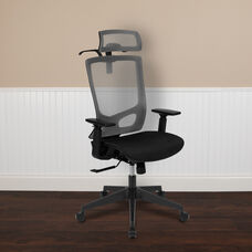 Ergonomic Mesh Office Chair with Synchro-Tilt, Pivot Adjustable Headrest, Lumbar Support, Coat Hanger and Adjustable Arms in Gray/Black
