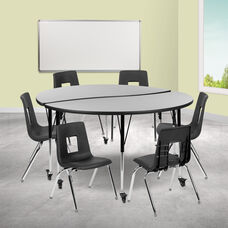 """Mobile 60"""" Circle Wave Collaborative Laminate Activity Table Set with 16"""" Student Stack Chairs, Grey/Black"""