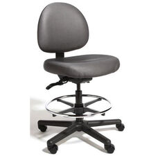Triton Large Back Mid-Height Drafting Cleanroom ESD Chair with 350 lb. Capacity - 4 Way Control - Black Vinyl