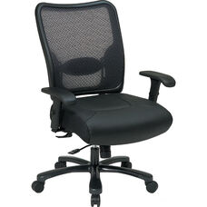 Space Dual Layer Air Grid Back and Leather Seat Ergonomic Office Chair with 400 lb Capacity - Black