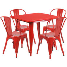 "Commercial Grade 31.5"" Square Red Metal Indoor-Outdoor Table Set with 4 Stack Chairs"