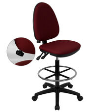 Mid-Back Burgundy Fabric Multifunction Ergonomic Drafting Chair with Adjustable Lumbar Support