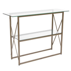 Mar Vista Collection Glass Console Table with Matte Gold Frame
