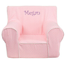 Personalized Small Light Pink Dot Kids Chair with White Piping