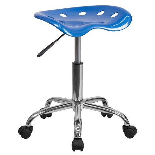 Our Vibrant Bright Blue Tractor Seat and Chrome Stool is on sale now.