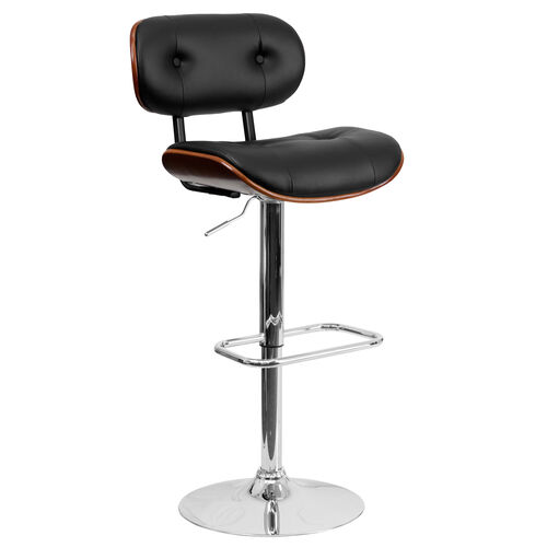 Our Walnut Bentwood Adjustable Height Barstool with Button Tufted Black Vinyl Seat is on sale now.