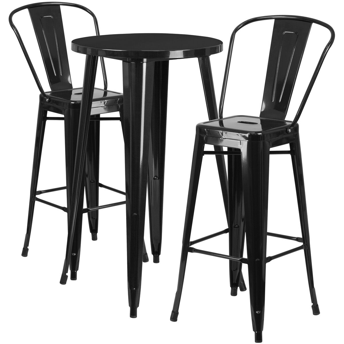 RD Black Metal Bar Set CHBHCAFEBKGG Bizchaircom - Outdoor cafe style table and chairs