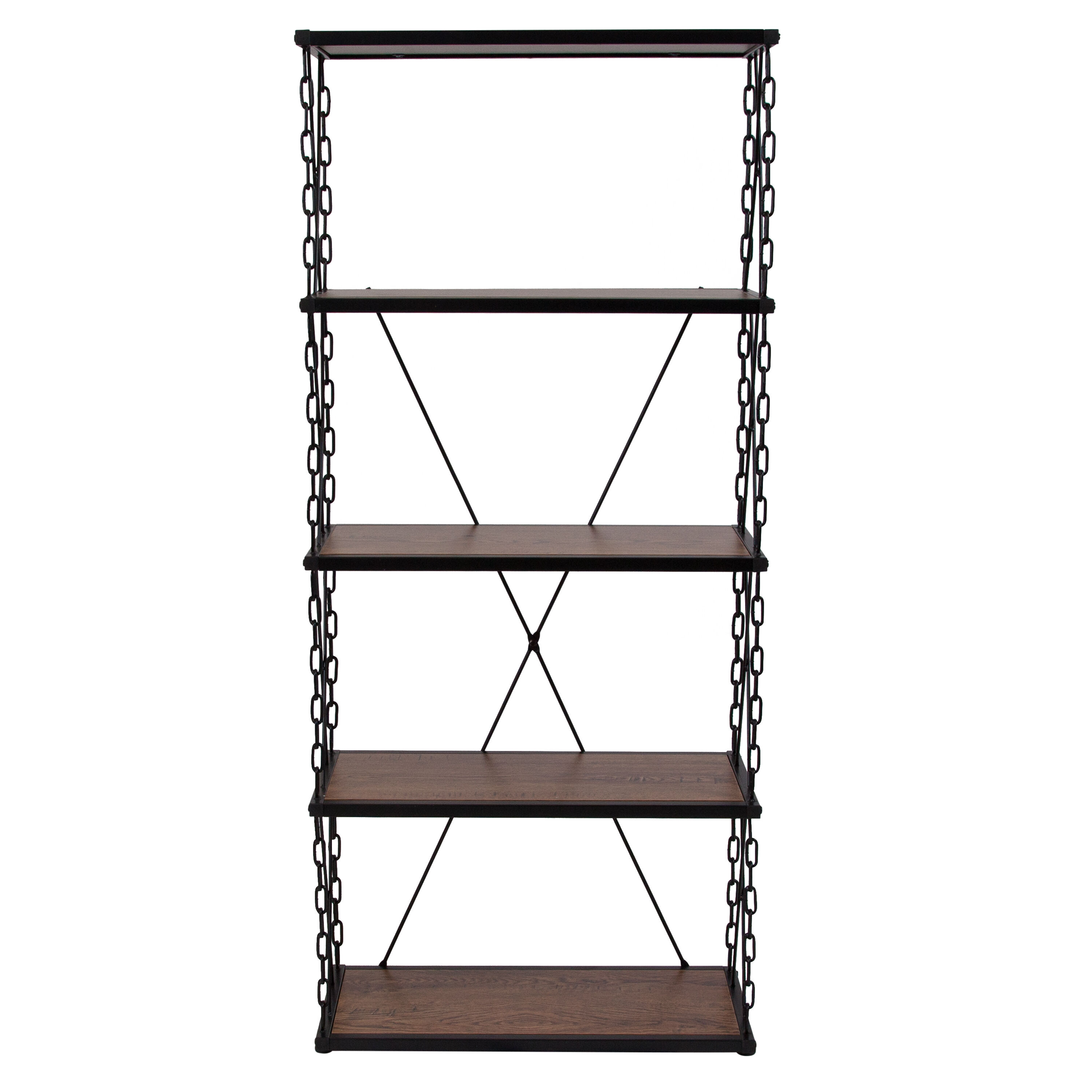 ... Our Vernon Hills Collection Antique Wood Grain Finish Four Shelf  Bookshelf With Chain Accent Metal Frame ...