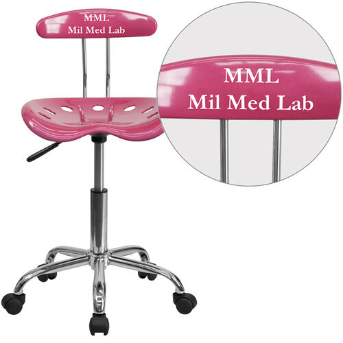 Our Personalized Vibrant Pink and Chrome Swivel Task Office Chair with Tractor Seat is on sale now.