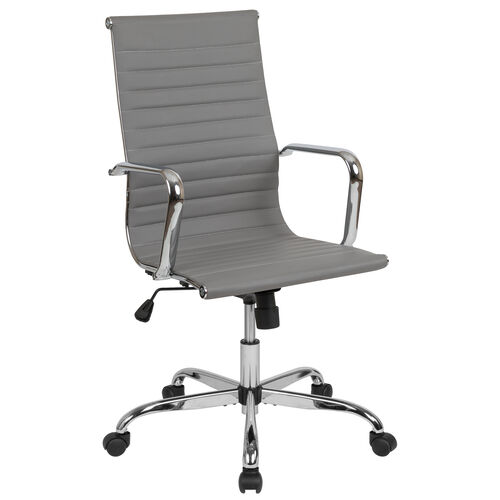 Our High Back Light Gray LeatherSoft Mid-Century Modern Ribbed Swivel Office Chair with Spring-Tilt Control and Arms is on sale now.