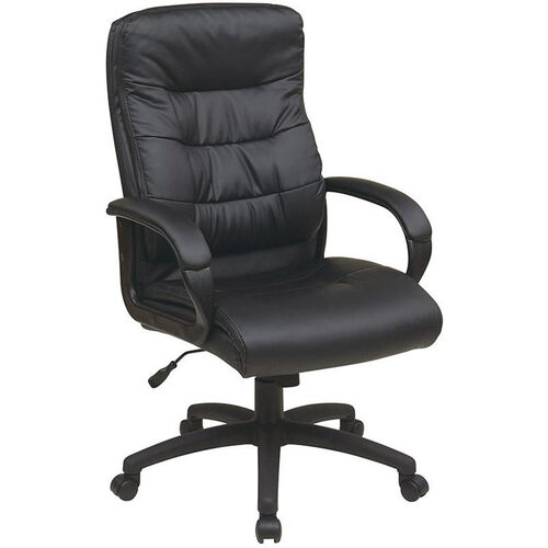 Our Work Smart High Back Faux Leather Executive Chair with Padded Loop Arms - Black is on sale now.