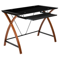 Black Glass Computer Desk with Pull-Out Keyboard Tray and Crisscross Frame