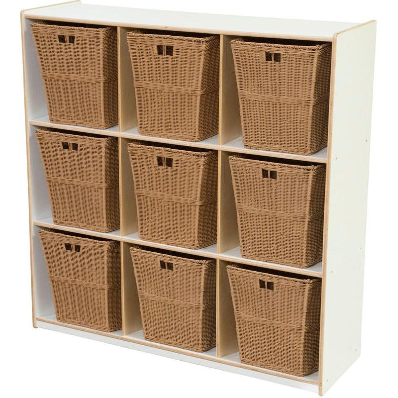Superieur ... Our Wooden Cubby Storage Unit With 9 Large Plastic Wicker Baskets    White   48u0027
