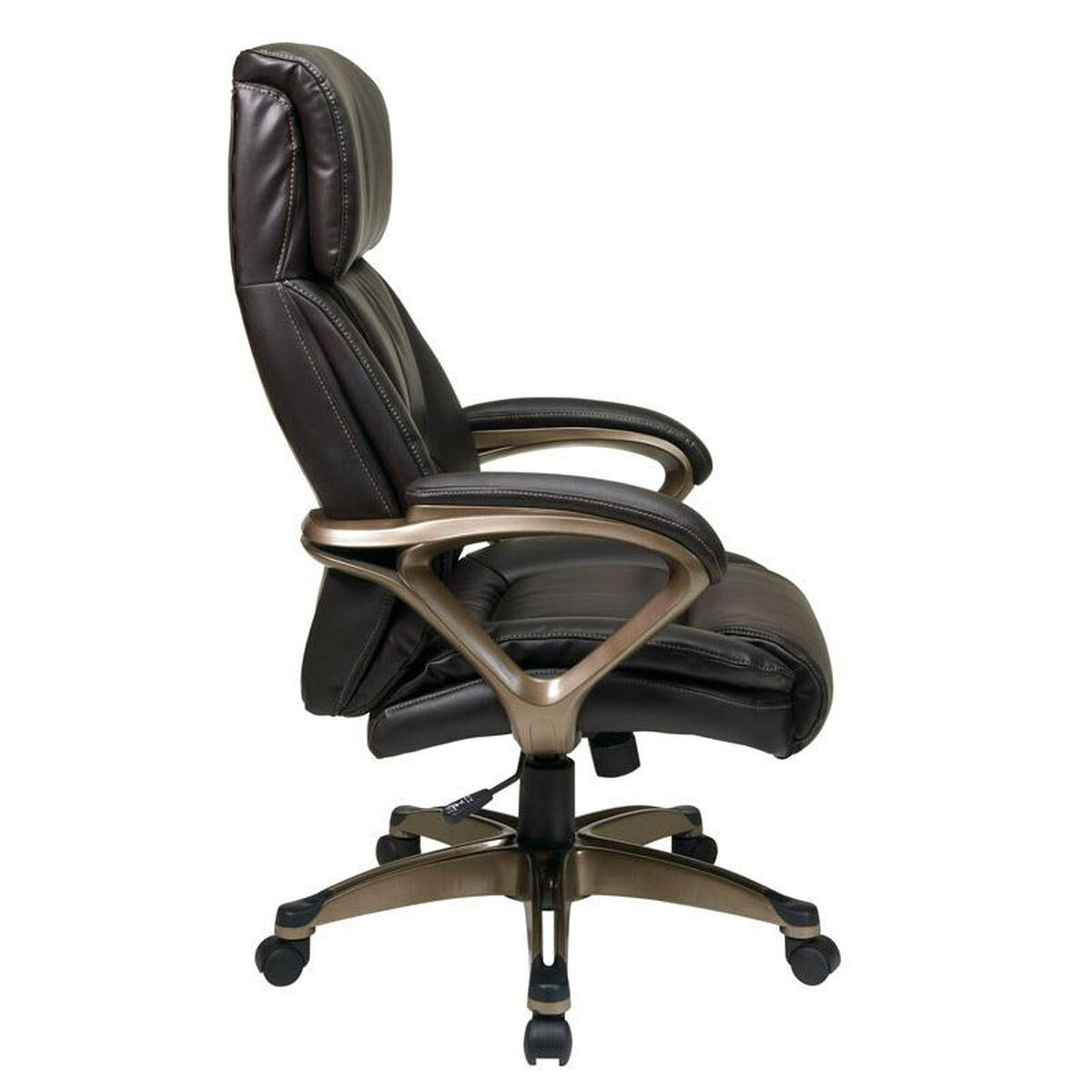 Our Work Smart Ech89301 Executive Eco Leather Chair With Padded Arms And Cocoa Coated Base