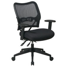 Space Air Grid Series Deluxe Swivel Task Chair with Adjustable Height Mesh Seat - Black