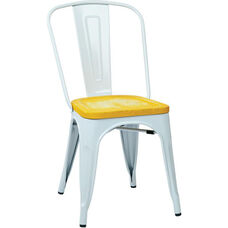 OSP Designs Bristow Metal Chair with Wood Seat - 2-Pack - White and Vintage Ash Yellowstone