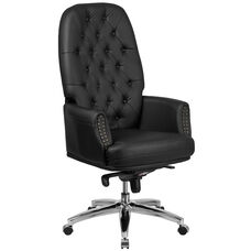 High Back Traditional Tufted Black LeatherSoft Multifunction Executive Swivel Ergonomic Office Chair with Arms