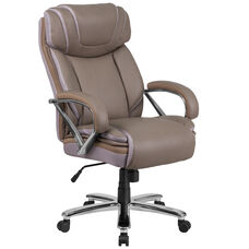 HERCULES Series Big & Tall 500 lb. Rated Taupe Leather Executive Swivel Ergonomic Office Chair with Extra Wide Seat