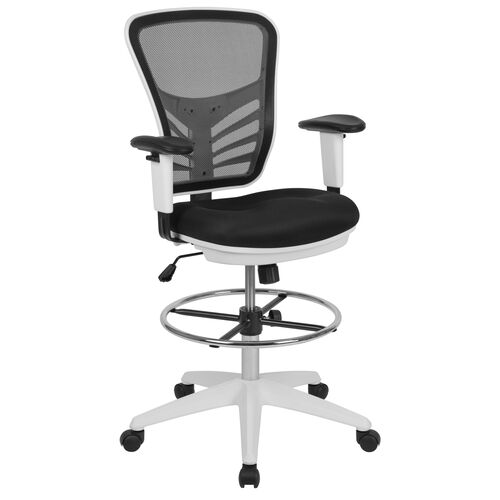 Our Mid-Back Black Mesh Ergonomic Drafting Chair with Adjustable Chrome Foot Ring, Adjustable Arms and White Frame is on sale now.