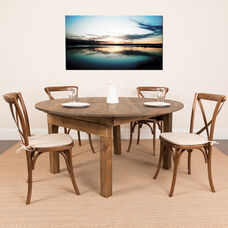 """HERCULES Series 60"""" Round Solid Pine Folding Farm Dining Table Set with 4 Cross Back Chairs and Cushions"""